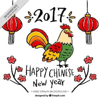 Nouvel an chinois 2017, coq dessiné à la main