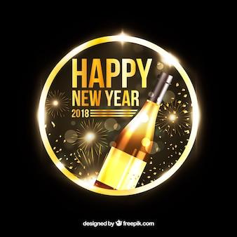 Nouvel an d'or avec champagne