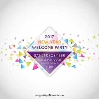 Nouvelle année étiquette d'invitation de fête