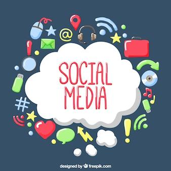 Nuage de fond avec de belles icônes de réseaux sociaux