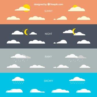 Nuages avec différentes conditions météorologiques