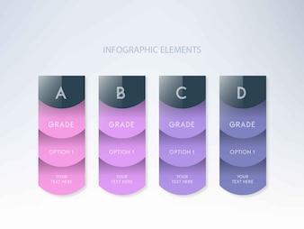 Nuances de couleurs infographiques avec quatre étapes