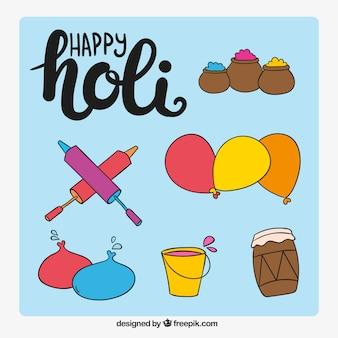 Objets décoratifs dessinés à la main pour festival Holi