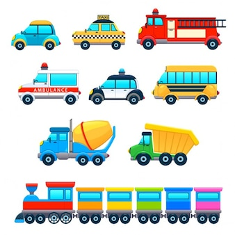Objets Funny Vehicles vecteur de dessin animé isolé
