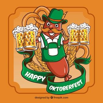 Oktoberfest, badge orange avec de la bière