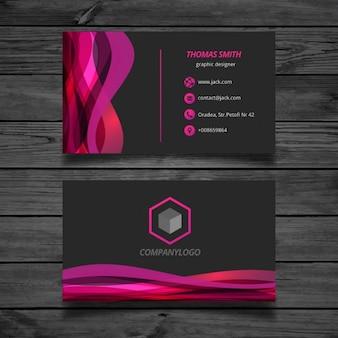 Ondulés rose et noir Carte de visite