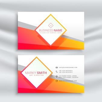 Orange et la conception de carte de visite blanche