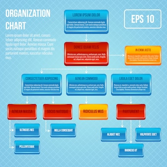 Organigramme 3d concept business travail hiérarchie diagramme graphique structure illustration vectorielle