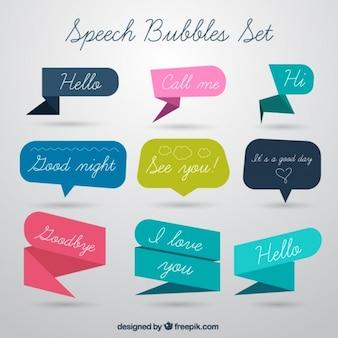 Origami speech bubble set