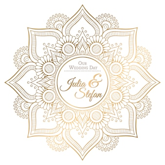 Ornement belle carte avec mandala pour invitation de mariage en style bodo