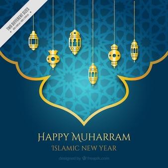 Ornemental fond muharram avec des lanternes d'or