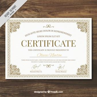 Ornemental modèle de certificat