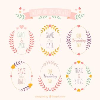 Ornements de mariage mignon de feuilles