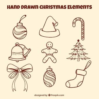Ornements de Noël avec style dessiné à la main