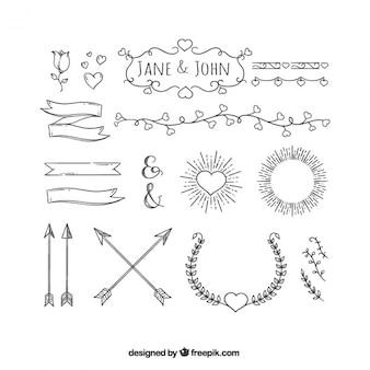 Ornements de valentine dessinées à la main