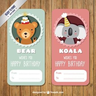 Ours et Koala anniversaire Labels Pack