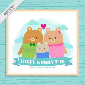 Ours mignon carte famille
