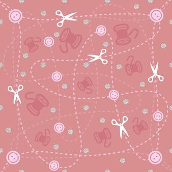 Outils de couture patten sur fond rose