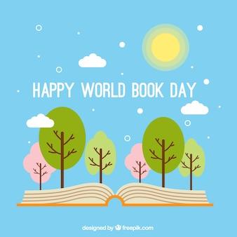 Ouvrir fond du livre avec des arbres en design plat