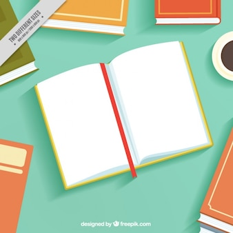 Ouvrir fond du livre en design plat