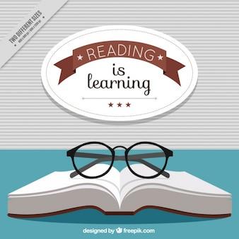 Ouvrir fond du livre et des lunettes