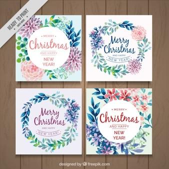 Pack aquarelle florale cartes de Noël