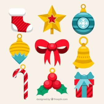 Pack classique d'ornements de Noël plats