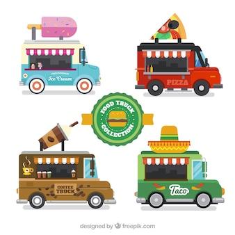 Pack coloré de camions de nourriture avec un design plat