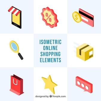 Pack d'accessoires isométriques pour les achats en ligne