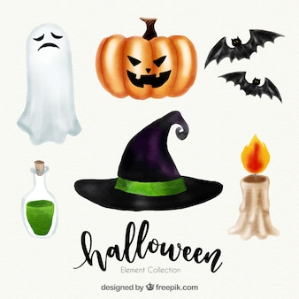Pack d'aquarelle éléments de halloween