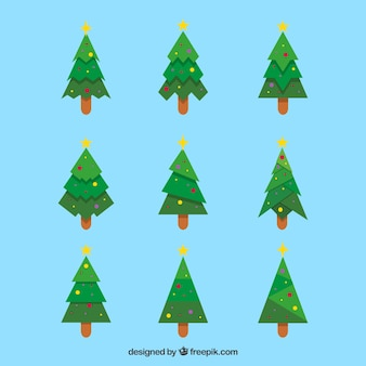Pack d'arbres de Noël au design plat