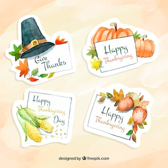 Pack d'autocollants aquarelles pour Thanksgiving