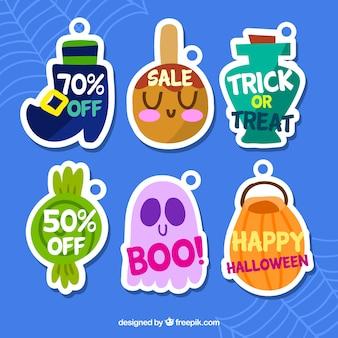 Pack d'autocollants de vente halloween dessinés à la main