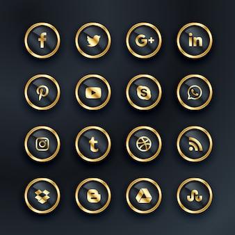 Pack d'icônes de médias sociaux de style de luxe
