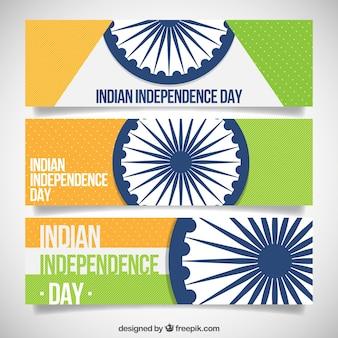 Pack de bannières avec ashoka chakra de l'indépendance de l'Inde
