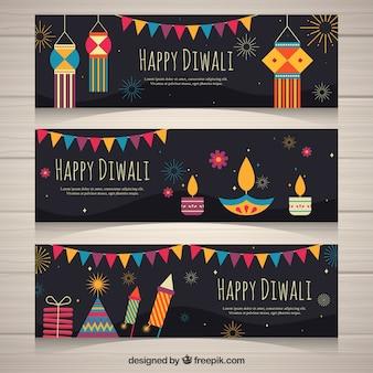 Pack de bannières de diwali avec des éléments décoratifs en conception plate