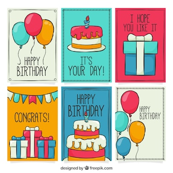 Pack de cartes d'anniversaire dessinées à la main