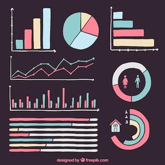 Pack de cartes de couleur infographiques dessinés à la main