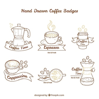 Pack de grands badges de café à la main dessinée