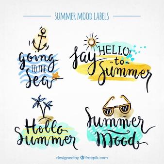 Pack de magnifiques autocollants d'aquarelle d'été
