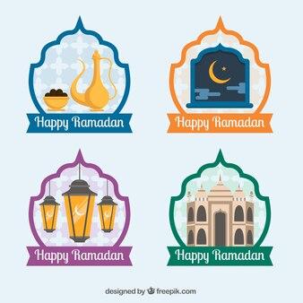 Pack de quatre autocollants ramadan heureux