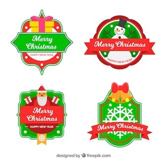 Pack de quatre badges de Noël vintage