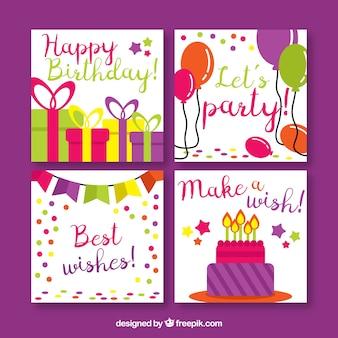 Pack de quatre cartes d'anniversaire en conception plate