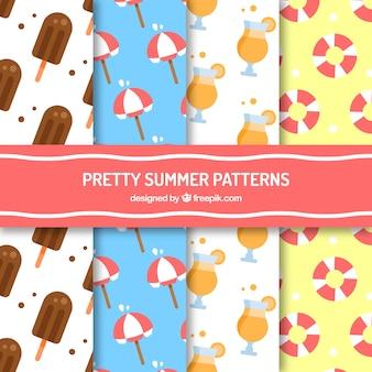 Pack de quatre jolis motifs d'été