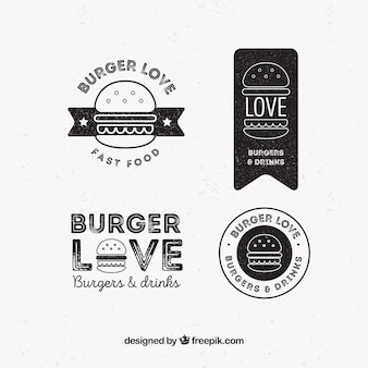 Pack de quatre logos de hamburger en style rétro