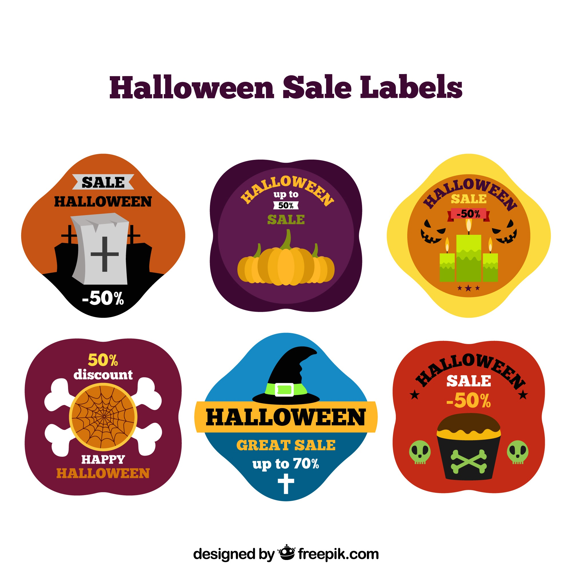 Pack de six autocollants halloween en conception plate