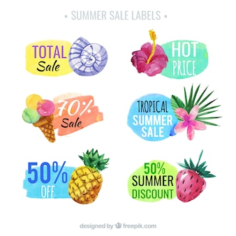 Pack de six étiquettes de vente d'été en style aquarelle