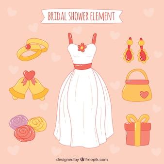 Pack dessinée à la main avec la robe de mariage et autres objets décoratifs