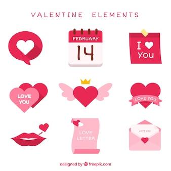 Pack fantastique d'éléments de valentine dans des tons rose