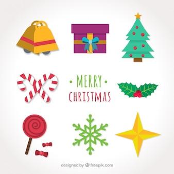 Pack fantastique d'objets de Noël dans la conception plate